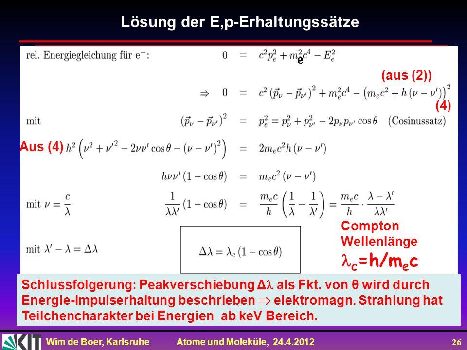 Wim de Boer, Karlsruhe Atome und Moleküle, 24.4.2012 26 Lösung der E,p-Erhaltungssätze Schlussfolgerung: Peakverschiebung Δ als Fkt. von θ wird durch
