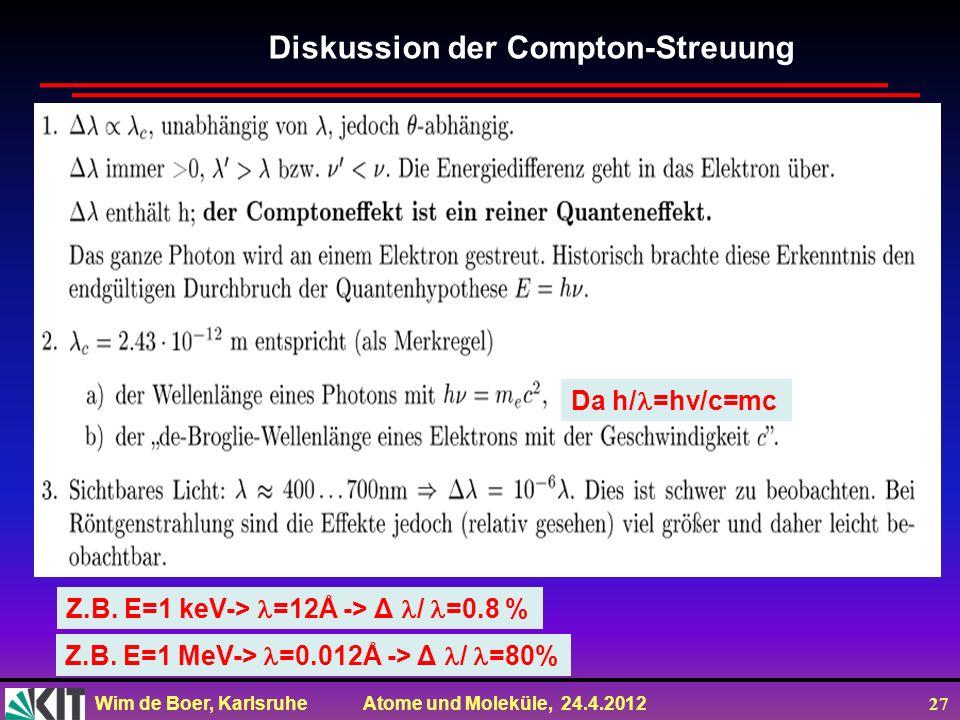 Wim de Boer, Karlsruhe Atome und Moleküle, 24.4.2012 27 Diskussion der Compton-Streuung Z.B. E=1 keV-> =12Å -> Δ / =0.8 % Z.B. E=1 MeV-> =0.012Å -> Δ