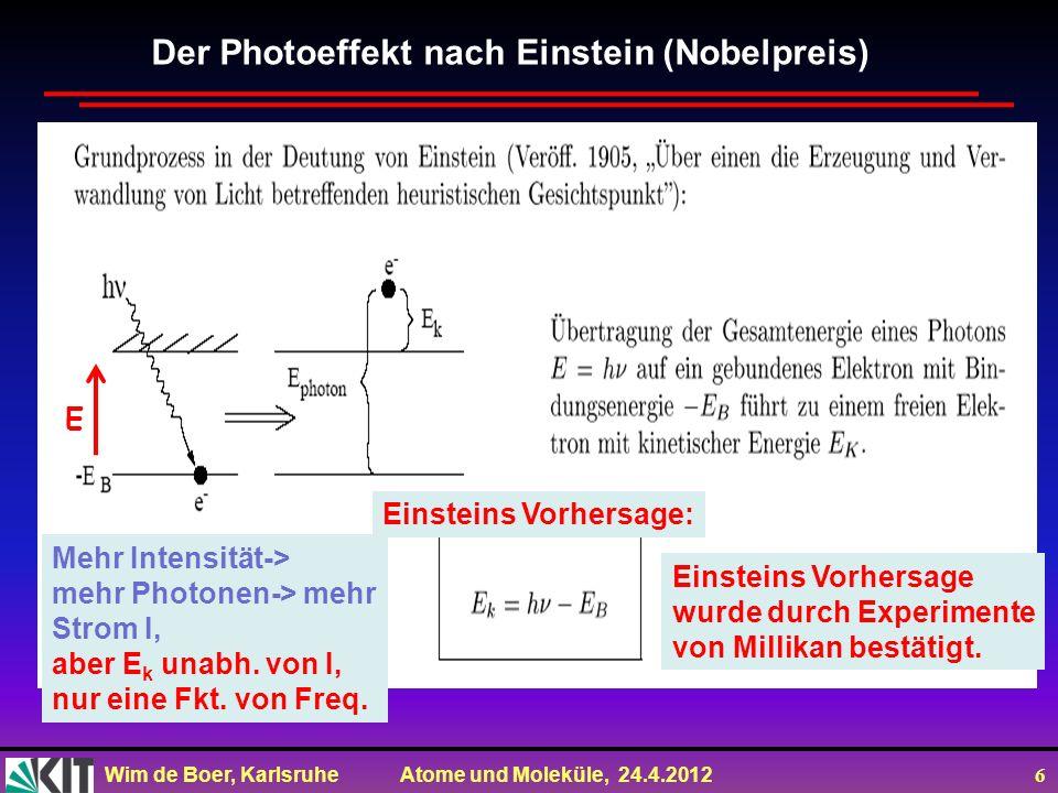 Wim de Boer, Karlsruhe Atome und Moleküle, 24.4.2012 6 Der Photoeffekt nach Einstein (Nobelpreis) Mehr Intensität-> mehr Photonen-> mehr Strom I, aber