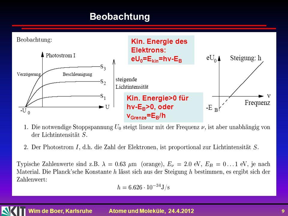 Wim de Boer, Karlsruhe Atome und Moleküle, 24.4.2012 9 Beobachtung Kin. Energie des Elektrons: eU 0 =E kin =hv-E B Kin. Energie>0 für hv-E B >0, oder