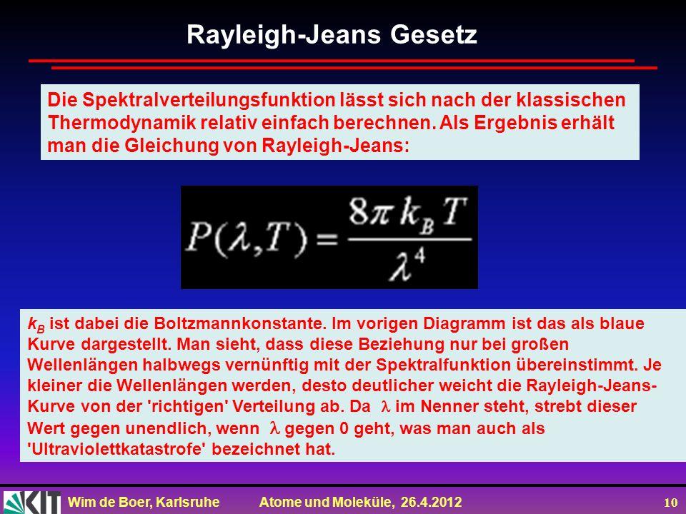 Wim de Boer, Karlsruhe Atome und Moleküle, 26.4.2012 10 Die Spektralverteilungsfunktion lässt sich nach der klassischen Thermodynamik relativ einfach