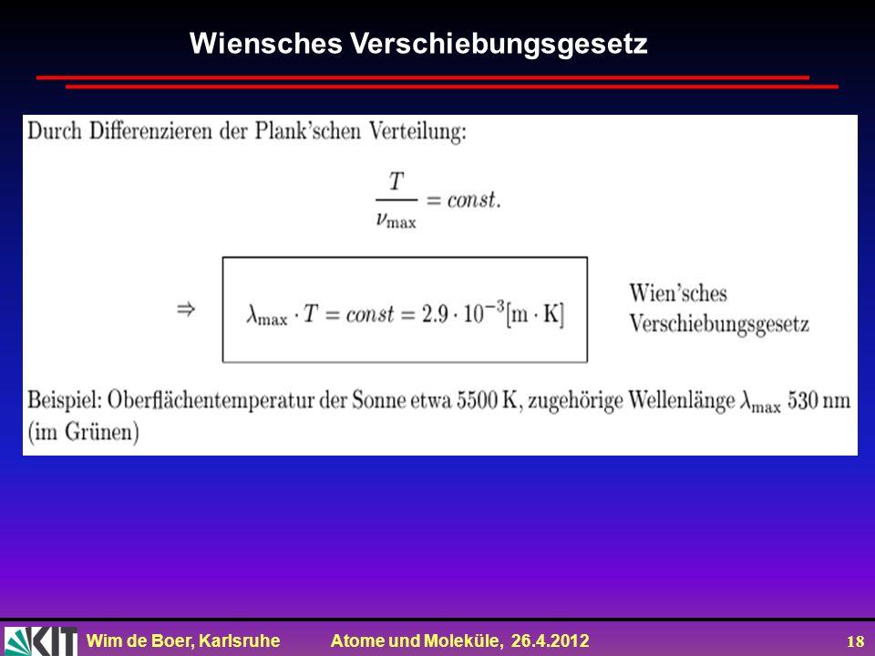 Wim de Boer, Karlsruhe Atome und Moleküle, 26.4.2012 18 Wiensches Verschiebungsgesetz