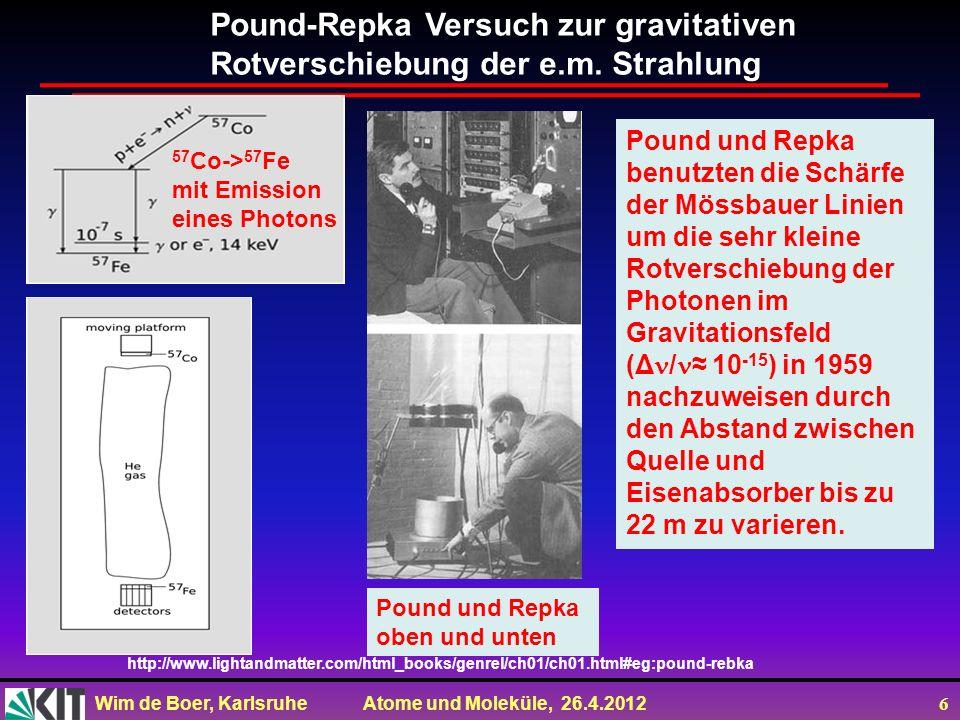 Wim de Boer, Karlsruhe Atome und Moleküle, 26.4.2012 6 Pound-Repka Versuch zur gravitativen Rotverschiebung der e.m. Strahlung http://www.lightandmatt