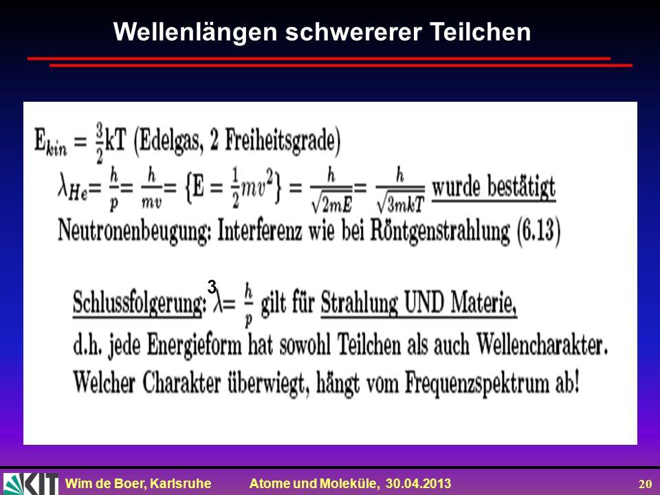 Wim de Boer, Karlsruhe Atome und Moleküle, 30.04.2013 20 Wellenlängen schwererer Teilchen 3