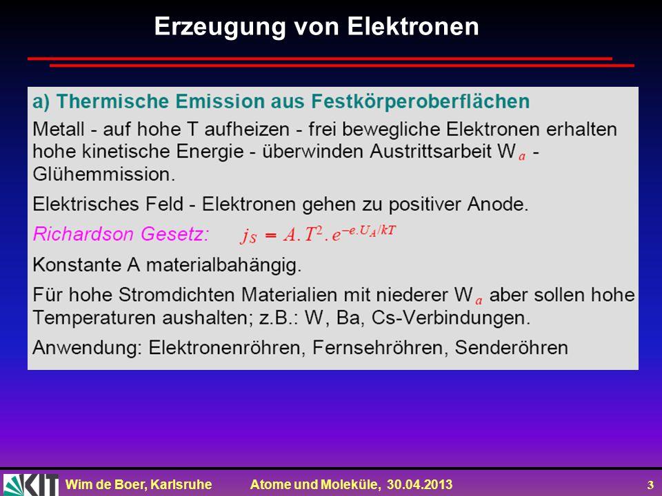 Wim de Boer, Karlsruhe Atome und Moleküle, 30.04.2013 4 Erzeugung von Elektronen