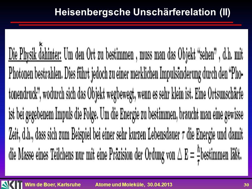 Wim de Boer, Karlsruhe Atome und Moleküle, 30.04.2013 30 Heisenbergsche Unschärferelation (II) k
