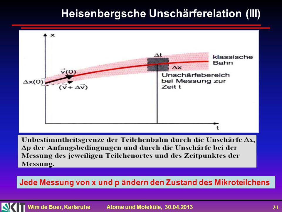 Wim de Boer, Karlsruhe Atome und Moleküle, 30.04.2013 31 Jede Messung von x und p ändern den Zustand des Mikroteilchens Heisenbergsche Unschärferelati