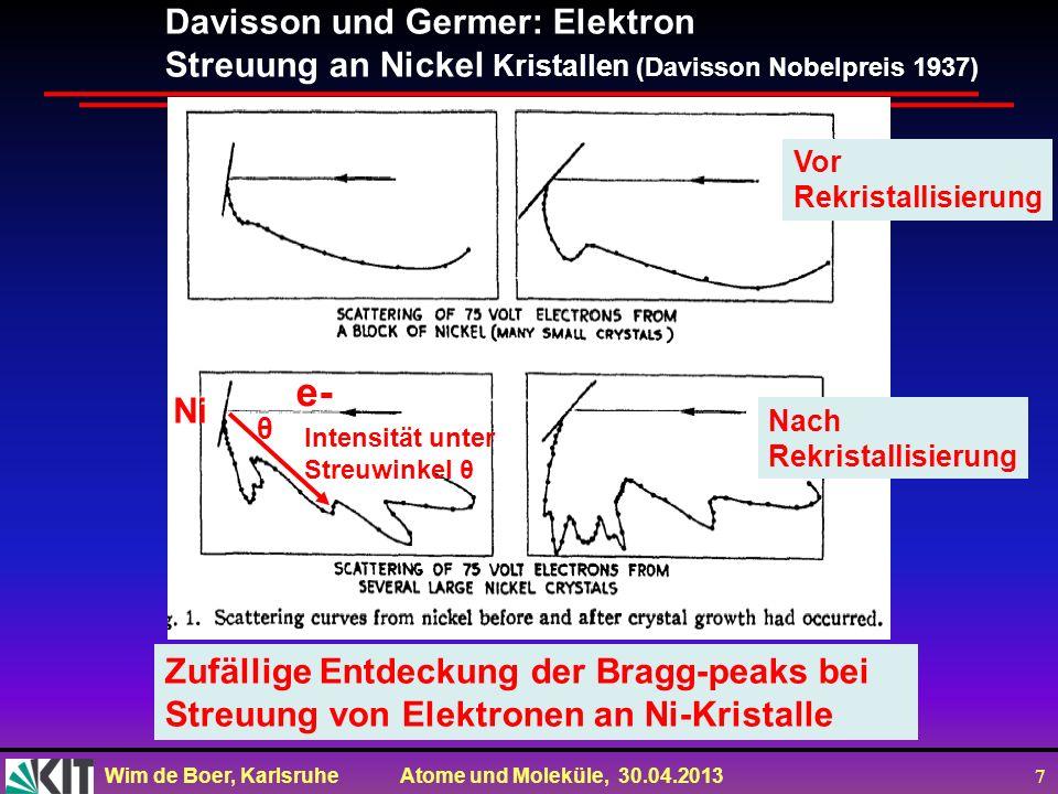 Wim de Boer, Karlsruhe Atome und Moleküle, 30.04.2013 7 Davisson und Germer: Elektron Streuung an Nickel Kristallen (Davisson Nobelpreis 1937) Zufälli