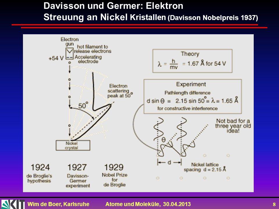 Wim de Boer, Karlsruhe Atome und Moleküle, 30.04.2013 8 Davisson und Germer: Elektron Streuung an Nickel Kristallen (Davisson Nobelpreis 1937)