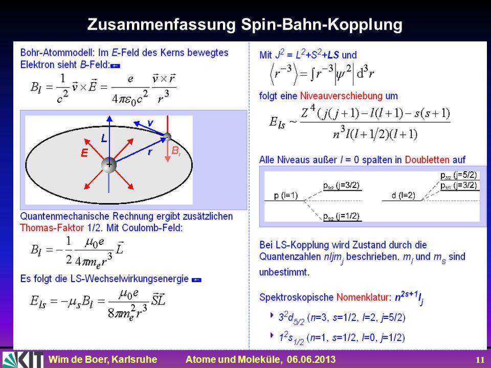 Wim de Boer, Karlsruhe Atome und Moleküle, 06.06.2013 11 Zusammenfassung Spin-Bahn-Kopplung