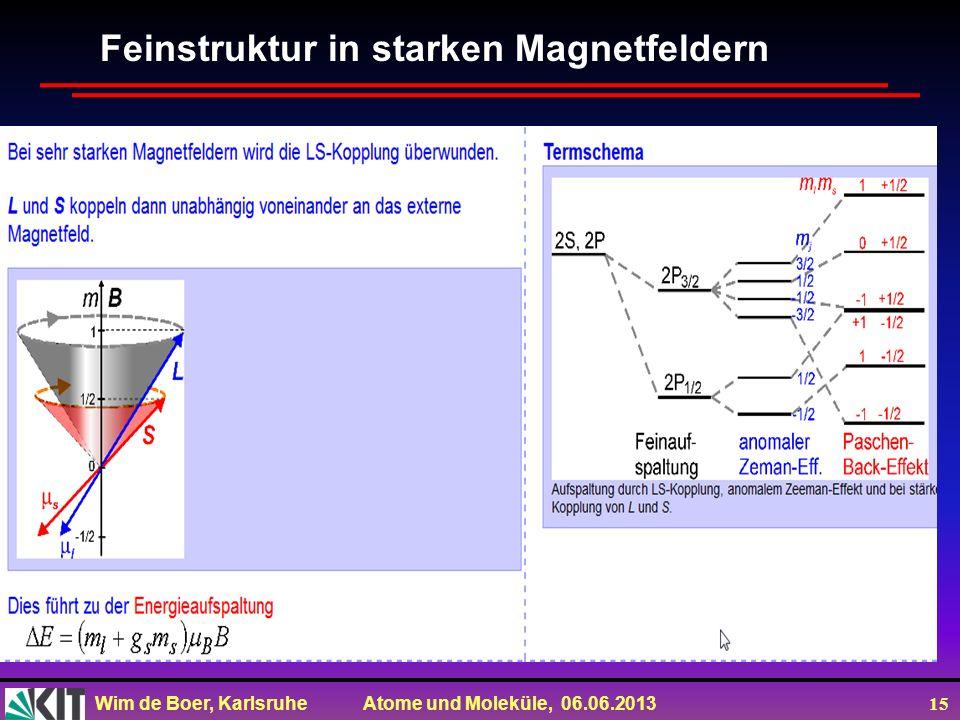Wim de Boer, Karlsruhe Atome und Moleküle, 06.06.2013 15 Feinstruktur in starken Magnetfeldern