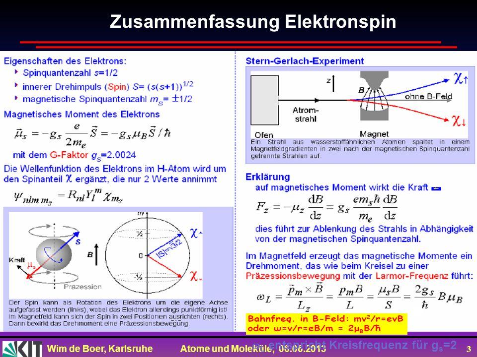 Wim de Boer, Karlsruhe Atome und Moleküle, 06.06.2013 3 Zusammenfassung Elektronspin L entspricht Kreisfrequenz für g s =2