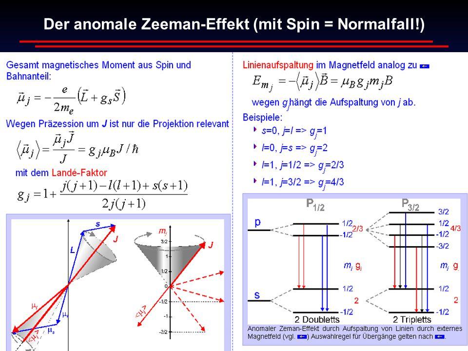 Wim de Boer, Karlsruhe Atome und Moleküle, 06.06.2013 4 Der anomale Zeeman-Effekt (mit Spin = Normalfall!)