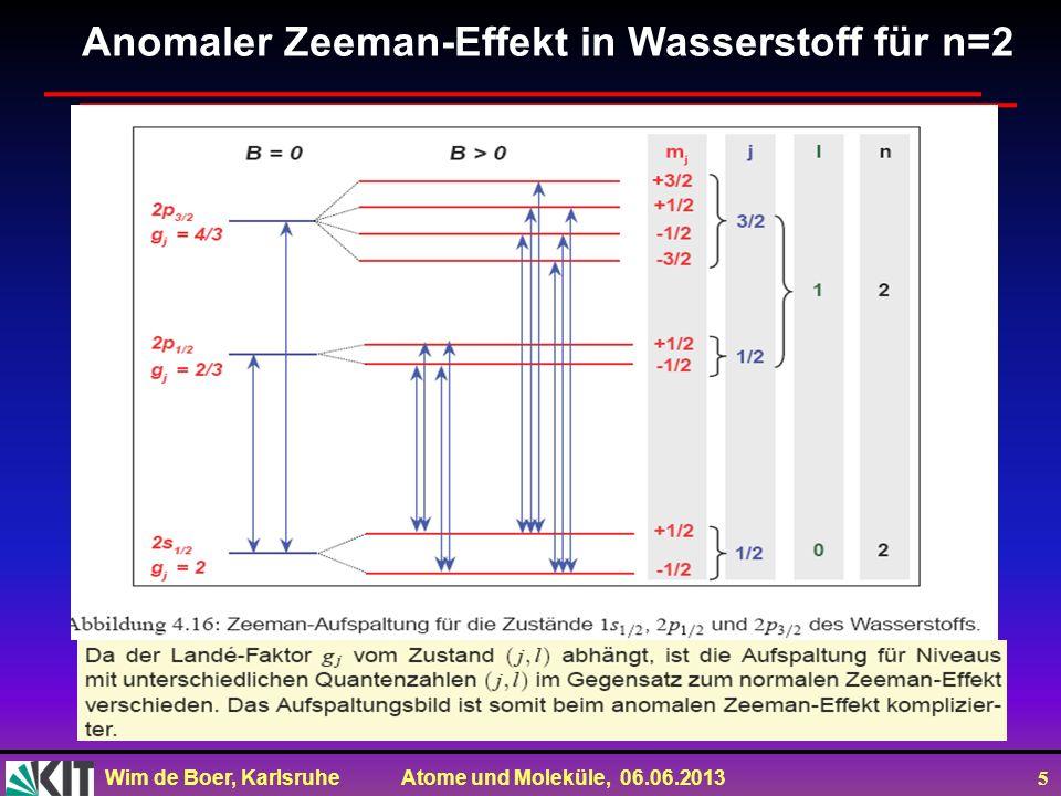 Wim de Boer, Karlsruhe Atome und Moleküle, 06.06.2013 5 Anomaler Zeeman-Effekt in Wasserstoff für n=2