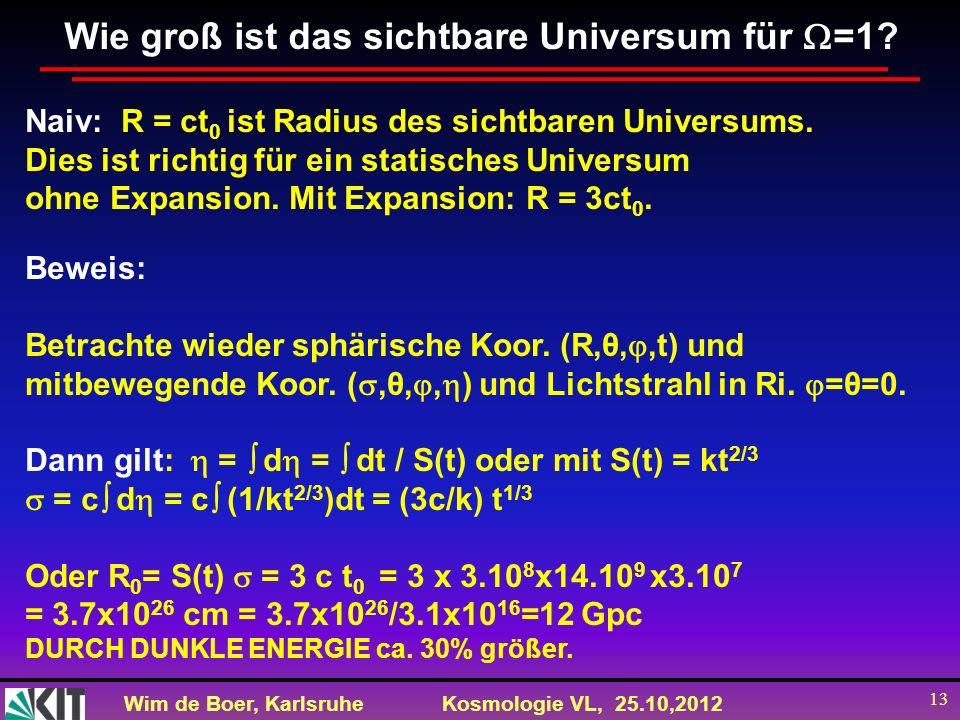 Wim de Boer, KarlsruheKosmologie VL, 25.10,2012 13 Wie groß ist das sichtbare Universum für =1? Naiv: R = ct 0 ist Radius des sichtbaren Universums. D