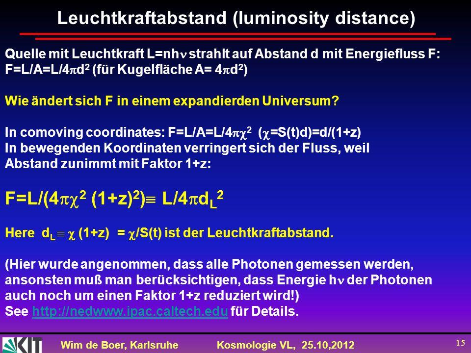 Wim de Boer, KarlsruheKosmologie VL, 25.10,2012 15 Leuchtkraftabstand (luminosity distance) Quelle mit Leuchtkraft L=nh strahlt auf Abstand d mit Ener