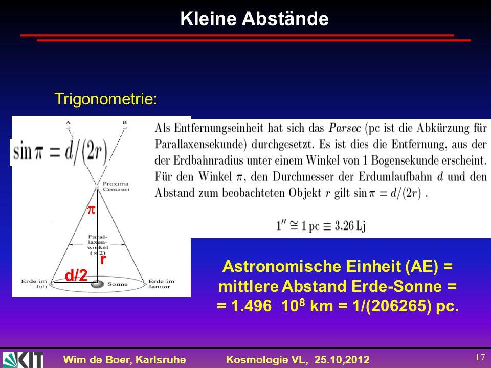 Wim de Boer, KarlsruheKosmologie VL, 25.10,2012 17 r d/2d/2 Kleine Abstände Trigonometrie: Astronomische Einheit (AE) = mittlere Abstand Erde-Sonne =