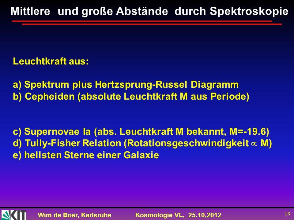 Wim de Boer, KarlsruheKosmologie VL, 25.10,2012 19 Leuchtkraft aus: a) Spektrum plus Hertzsprung-Russel Diagramm b) Cepheiden (absolute Leuchtkraft M