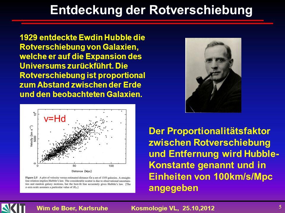 Wim de Boer, KarlsruheKosmologie VL, 25.10,2012 5 Entdeckung der Rotverschiebung 1929 entdeckte Ewdin Hubble die Rotverschiebung von Galaxien, welche