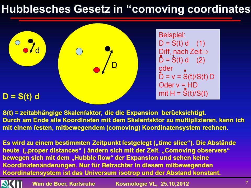 Wim de Boer, KarlsruheKosmologie VL, 25.10,2012 7 Hubblesches Gesetz in comoving coordinates d D D = S(t) d S(t) = zeitabhängige Skalenfaktor, die die