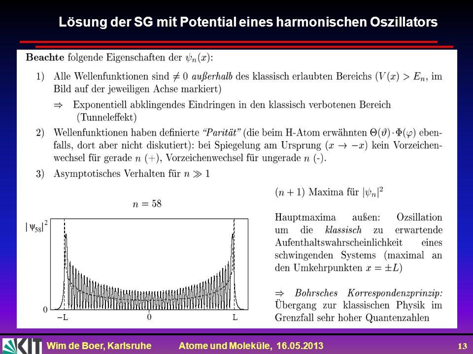 Wim de Boer, Karlsruhe Atome und Moleküle, 16.05.2013 13 Lösung der SG mit Potential eines harmonischen Oszillators