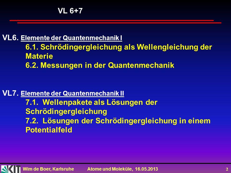 Wim de Boer, Karlsruhe Atome und Moleküle, 16.05.2013 2 VL6. Elemente der Quantenmechanik I 6.1. Schrödingergleichung als Wellengleichung der Materie