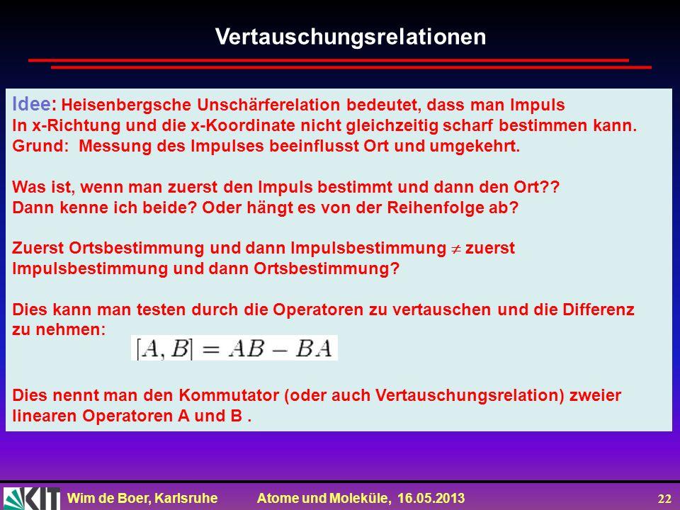 Wim de Boer, Karlsruhe Atome und Moleküle, 16.05.2013 22 Idee: Heisenbergsche Unschärferelation bedeutet, dass man Impuls In x-Richtung und die x-Koordinate nicht gleichzeitig scharf bestimmen kann.