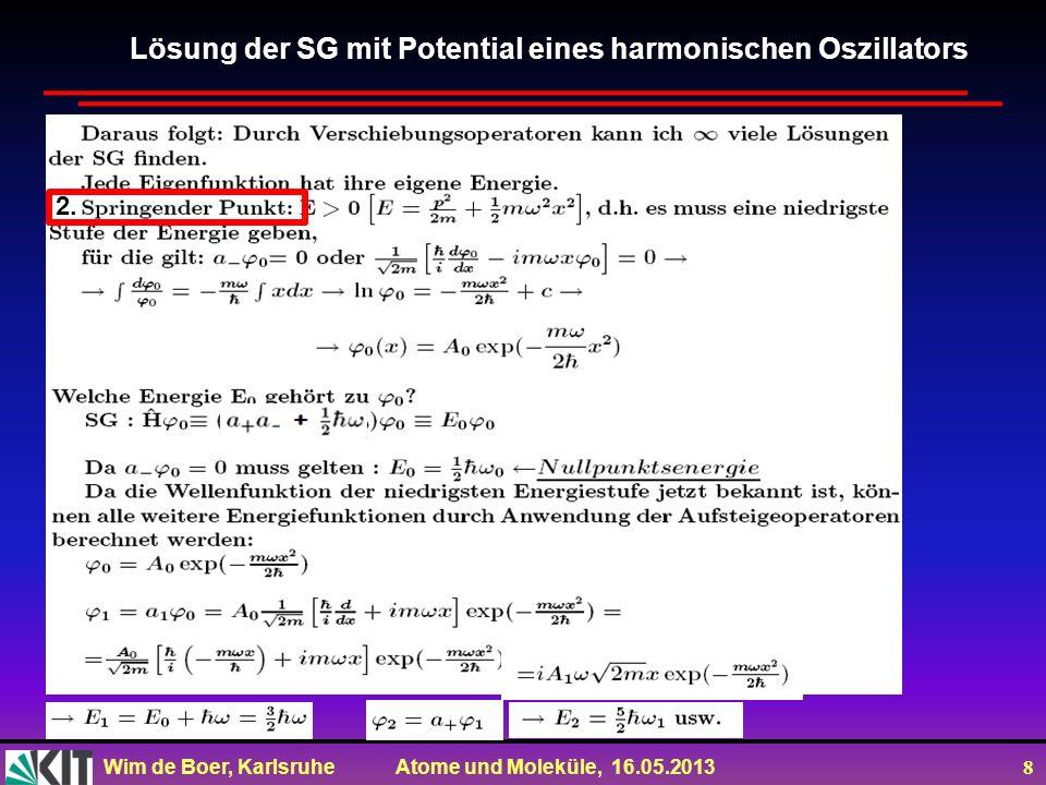 Wim de Boer, Karlsruhe Atome und Moleküle, 16.05.2013 8 Lösung der SG mit Potential eines harmonischen Oszillators 2.