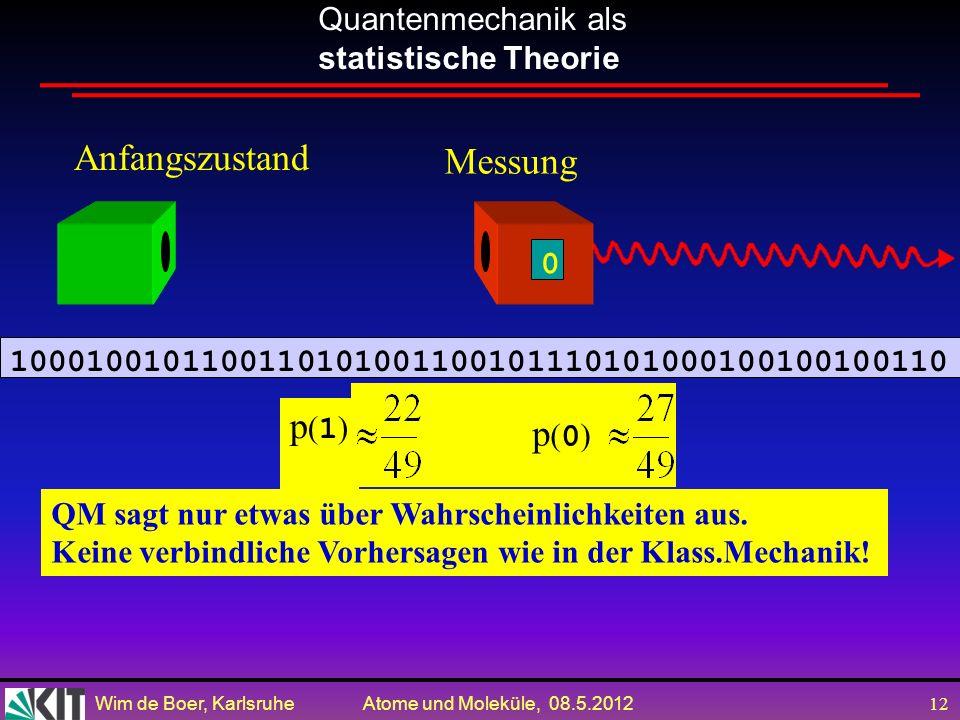 Wim de Boer, Karlsruhe Atome und Moleküle, 08.5.2012 11 6.2. Messungen in der Quantenmechanik