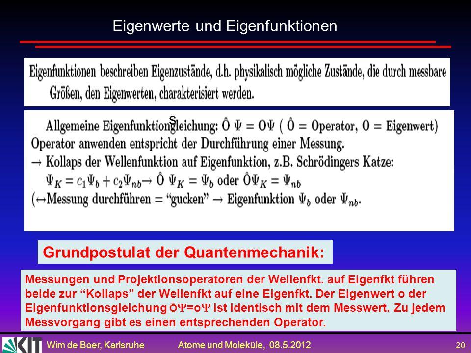 Wim de Boer, Karlsruhe Atome und Moleküle, 08.5.2012 19 Schrödingers Katze ist ein beliebtes Beispiel um ein Phänomen anschaulich darzustellen, das in