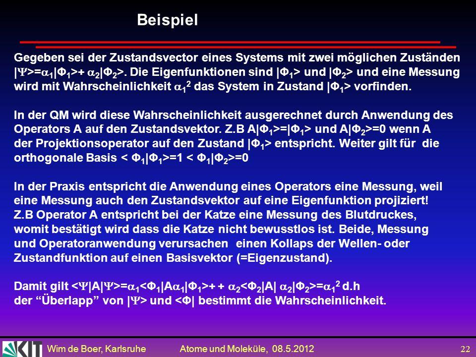 Wim de Boer, Karlsruhe Atome und Moleküle, 08.5.2012 21 Kurzfassung der Eigenschaften der Eigenfunktionen 2 2