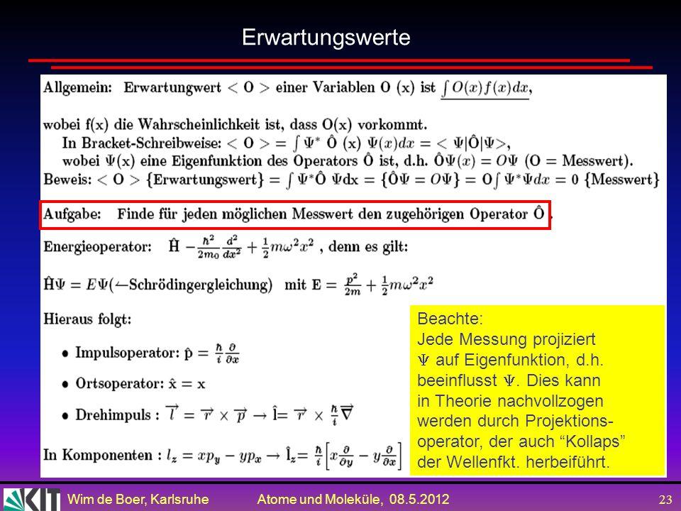 Wim de Boer, Karlsruhe Atome und Moleküle, 08.5.2012 22 Gegeben sei der Zustandsvector eines Systems mit zwei möglichen Zuständen | >= 1 |Φ 1 >+ 2 |Φ