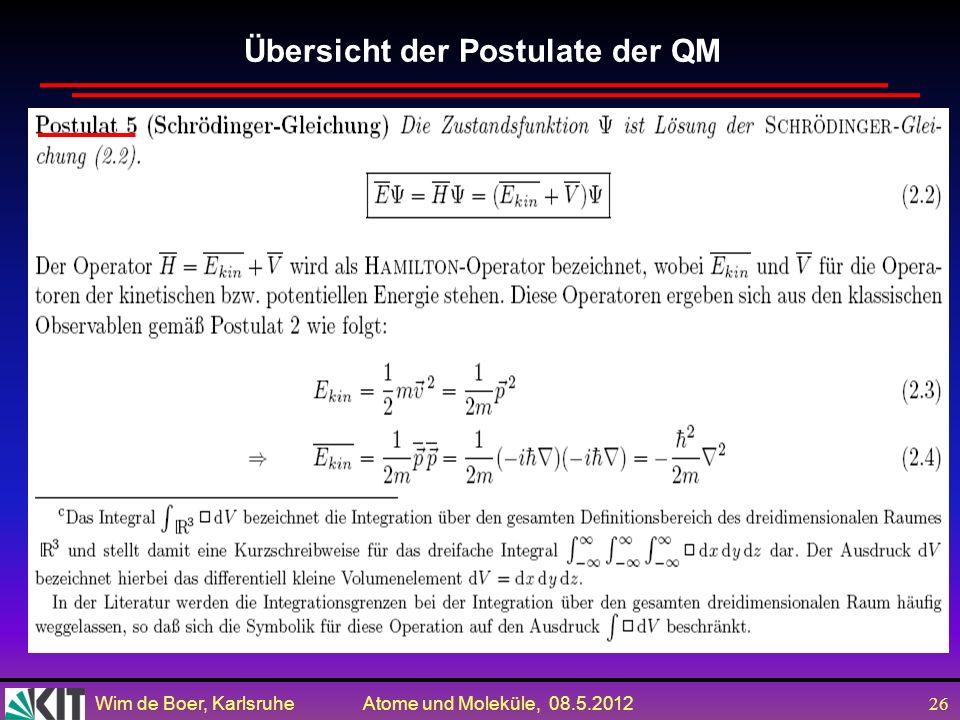 Wim de Boer, Karlsruhe Atome und Moleküle, 08.5.2012 25 Übersicht der Postulate der QM durch = / gegeben ist.