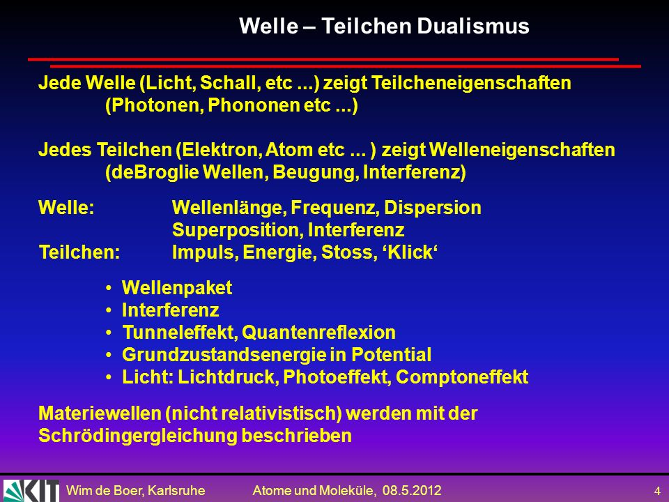 Wim de Boer, Karlsruhe Atome und Moleküle, 08.5.2012 4 Jede Welle (Licht, Schall, etc...) zeigt Teilcheneigenschaften (Photonen, Phononen etc...) Jedes Teilchen (Elektron, Atom etc...