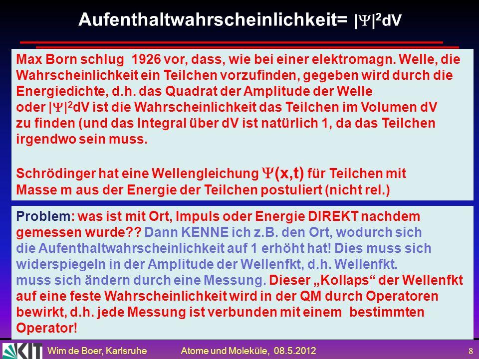 Wim de Boer, Karlsruhe Atome und Moleküle, 08.5.2012 8 Aufenthaltwahrscheinlichkeit= | | 2 dV Max Born schlug 1926 vor, dass, wie bei einer elektromagn.