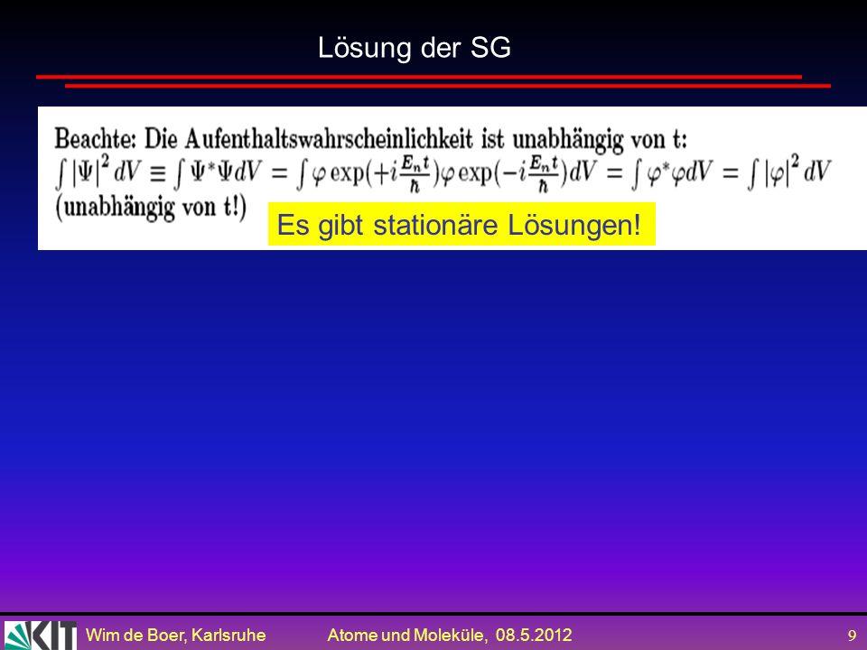 Wim de Boer, Karlsruhe Atome und Moleküle, 08.5.2012 29 Zum Mitnehmen Die Wahrscheinlichkeit einer Messung in der QM wird gegeben durch das Quadrat der absoluten Wert einer komplexen Zahl, die man Wahrscheinlichkeitsamplitude nennt.