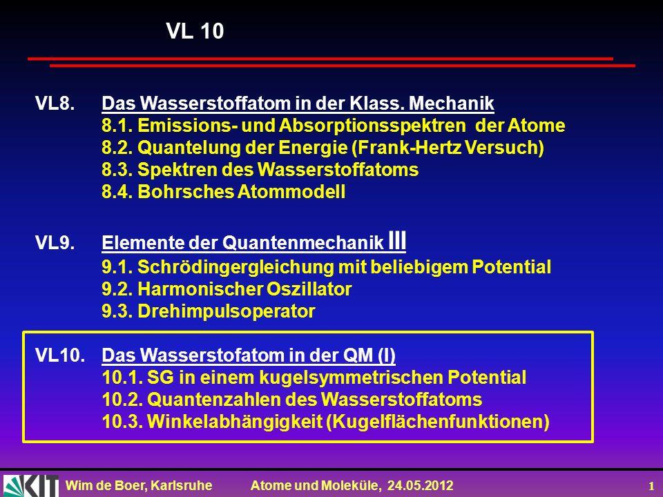 Wim de Boer, Karlsruhe Atome und Moleküle, 24.05.2012 12 Während also in der klassischen Mechanik der Drehimpuls eines Teilchen, das sich ein einem kugelsymmetrischen Potential bewegt, nach Betrag und Richtung zeitlich konstant ist, sagt die QM, dass zwar der Betrag des Drehimpulses zeitlich konstant ist, dass aber von seinen drei Komponenten nur eine einen zeitlich konstanten Messwert besitzt.