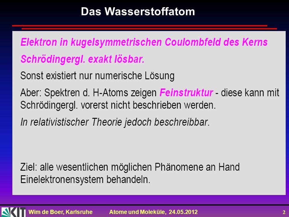 Wim de Boer, Karlsruhe Atome und Moleküle, 24.05.2012 3 Kartesische Koordinaten: Kugelkoord.: ds r =dr ds θ =r dθ ds φ =r sinθ dφ Hamilton-Operator in Kugelkoordinaten später mehr