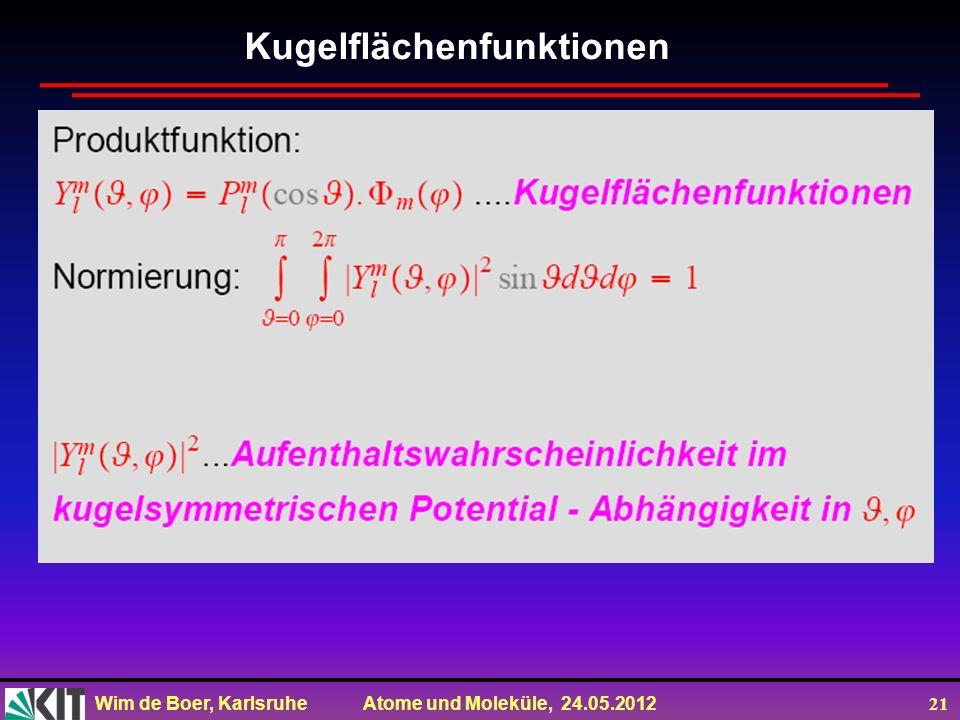 Wim de Boer, Karlsruhe Atome und Moleküle, 24.05.2012 21 Kugelflächenfunktionen