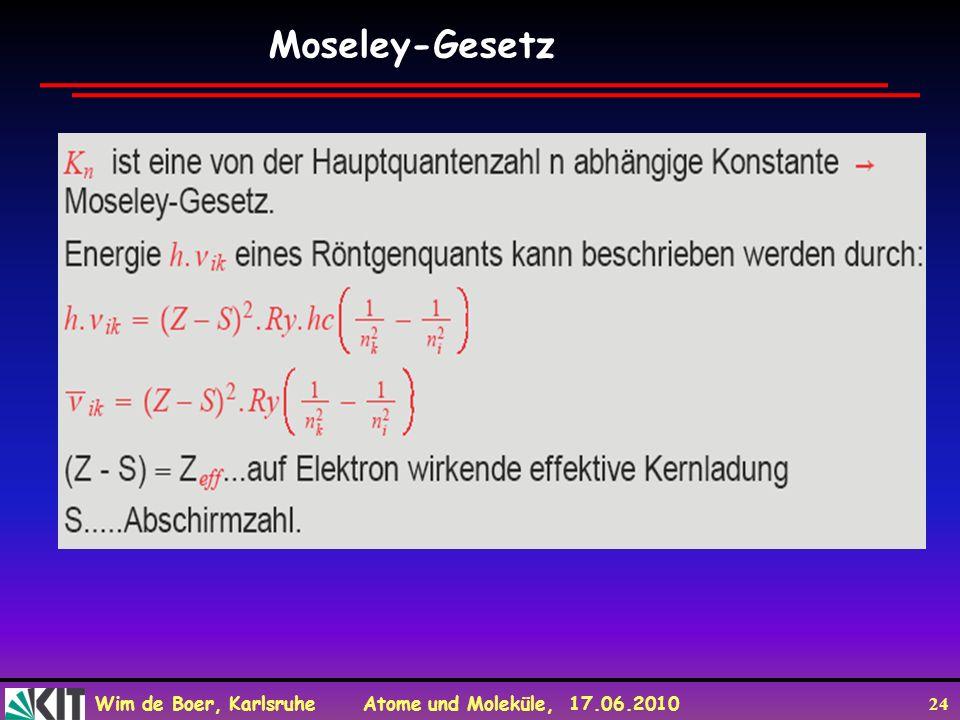 Wim de Boer, Karlsruhe Atome und Moleküle, 17.06.2010 24 Moseley-Gesetz