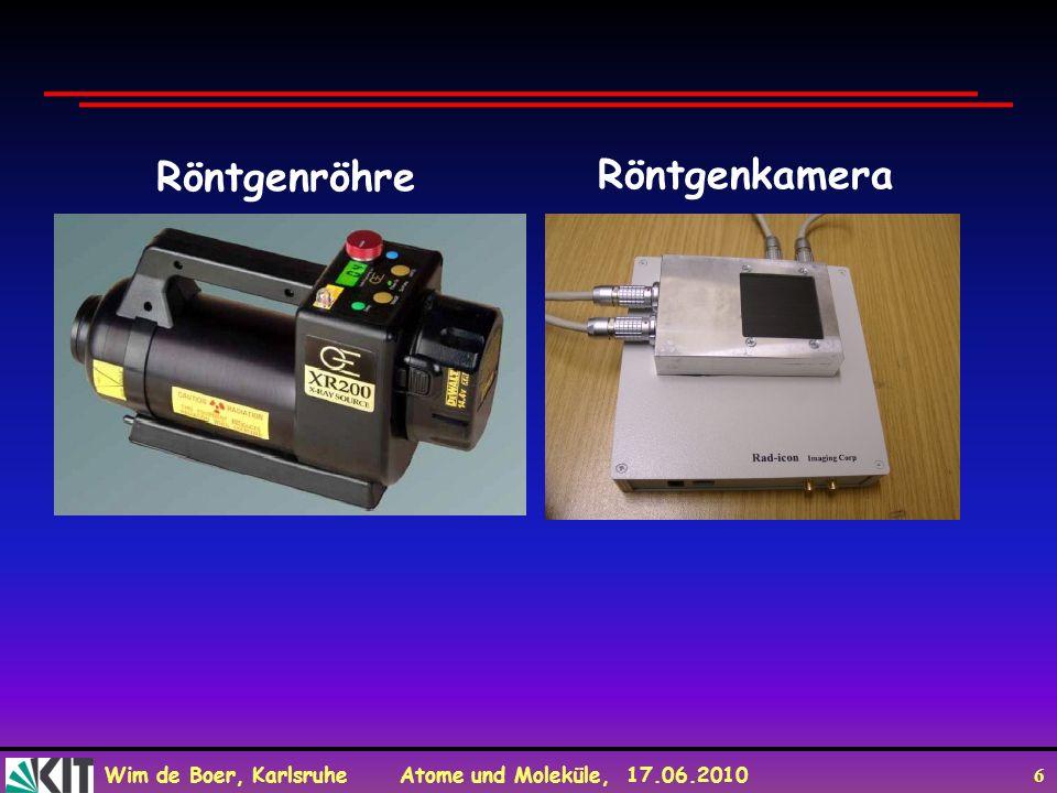 Wim de Boer, Karlsruhe Atome und Moleküle, 17.06.2010 6 Röntgenröhre Röntgenkamera