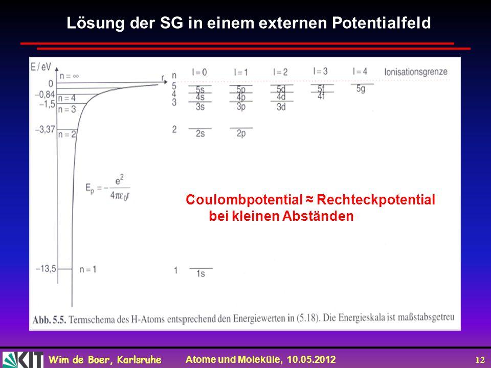 Wim de Boer, Karlsruhe Atome und Moleküle, 10.05.2012 12 Lösung der SG in einem externen Potentialfeld Coulombpotential Rechteckpotential bei kleinen Abständen
