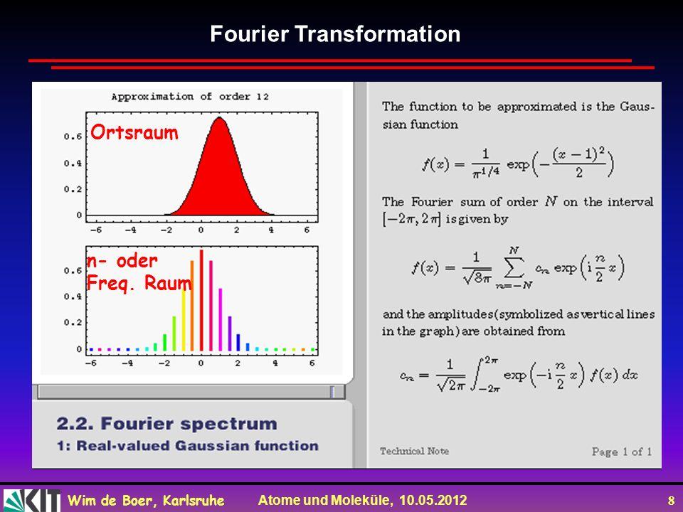 Wim de Boer, Karlsruhe Atome und Moleküle, 10.05.2012 8 Fourier Transformation n- oder Freq.