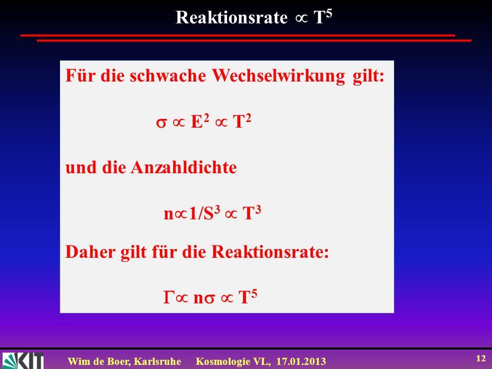 Wim de Boer, KarlsruheKosmologie VL, 17.01.2013 12 Reaktionsrate T 5 Für die schwache Wechselwirkung gilt: E 2 T 2 und die Anzahldichte n 1/S 3 T 3 Da