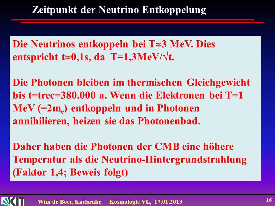 Wim de Boer, KarlsruheKosmologie VL, 17.01.2013 16 Zeitpunkt der Neutrino Entkoppelung Die Neutrinos entkoppeln bei T 3 MeV. Dies entspricht t 0,1s, d