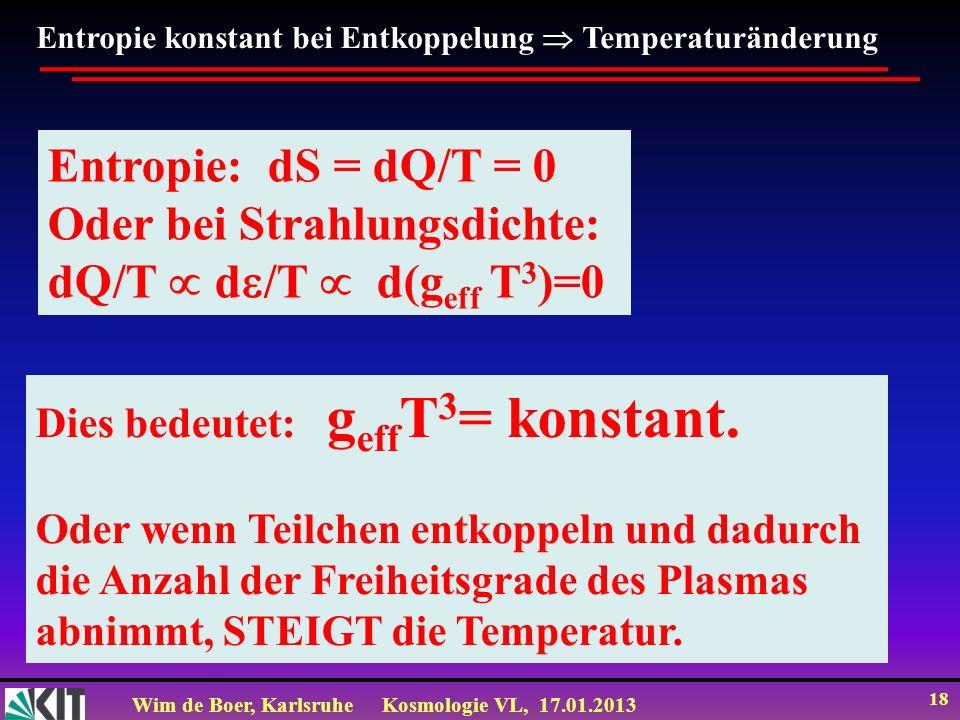 Wim de Boer, KarlsruheKosmologie VL, 17.01.2013 18 Entropie konstant bei Entkoppelung Temperaturänderung Entropie: dS = dQ/T = 0 Oder bei Strahlungsdi