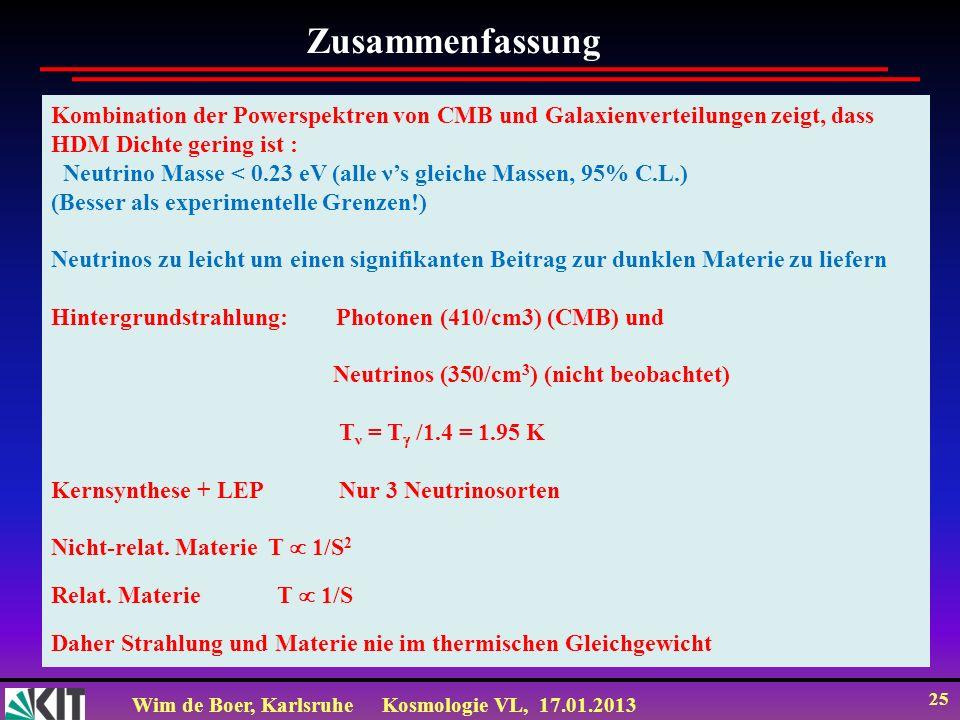 Wim de Boer, KarlsruheKosmologie VL, 17.01.2013 25 Kombination der Powerspektren von CMB und Galaxienverteilungen zeigt, dass HDM Dichte gering ist :
