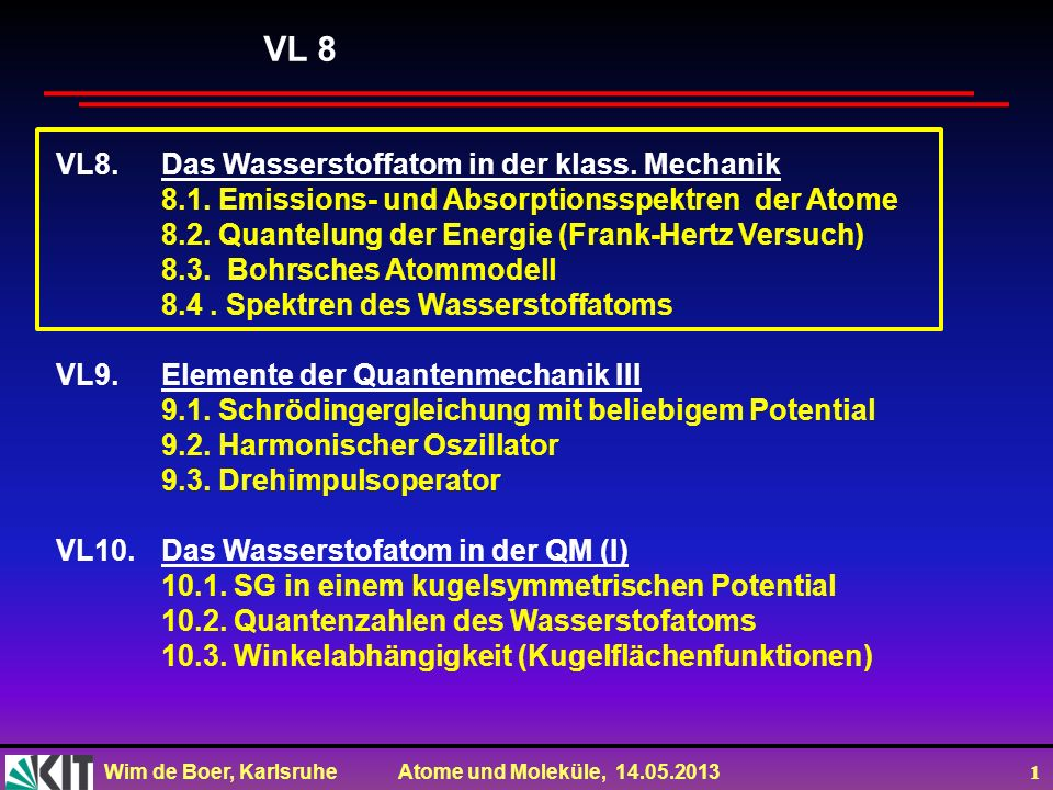 Wim de Boer, Karlsruhe Atome und Moleküle, 14.05.2013 2 VL6.