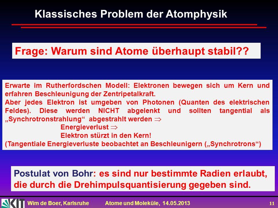 Wim de Boer, Karlsruhe Atome und Moleküle, 14.05.2013 11 Klassisches Problem der Atomphysik Frage: Warum sind Atome überhaupt stabil?? Erwarte im Ruth