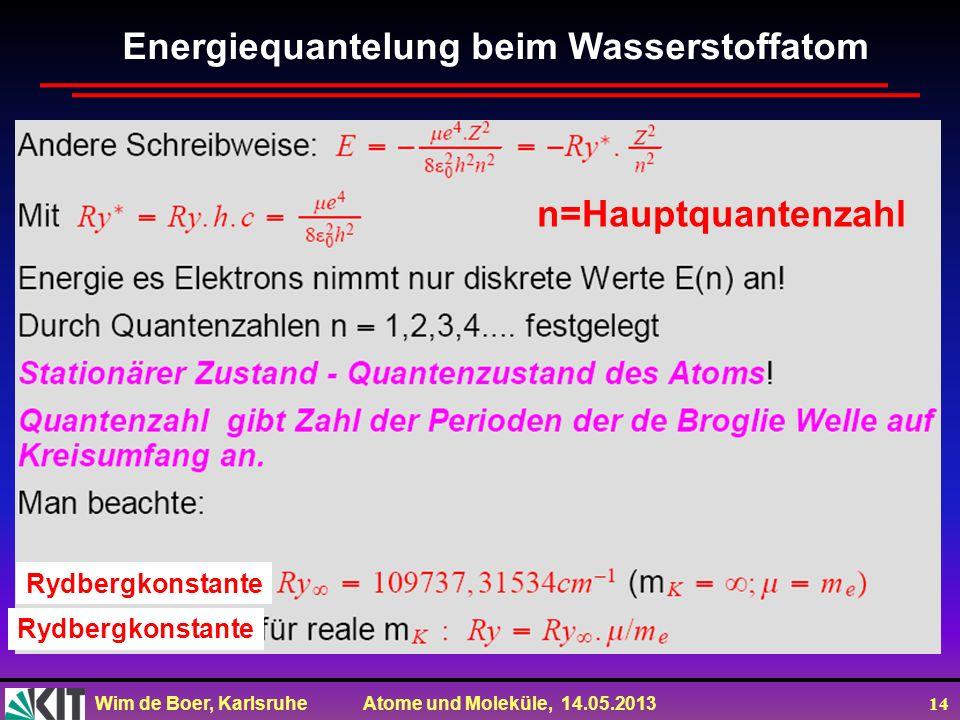 Wim de Boer, Karlsruhe Atome und Moleküle, 14.05.2013 14 Energiequantelung beim Wasserstoffatom n=Hauptquantenzahl Rydbergkonstante